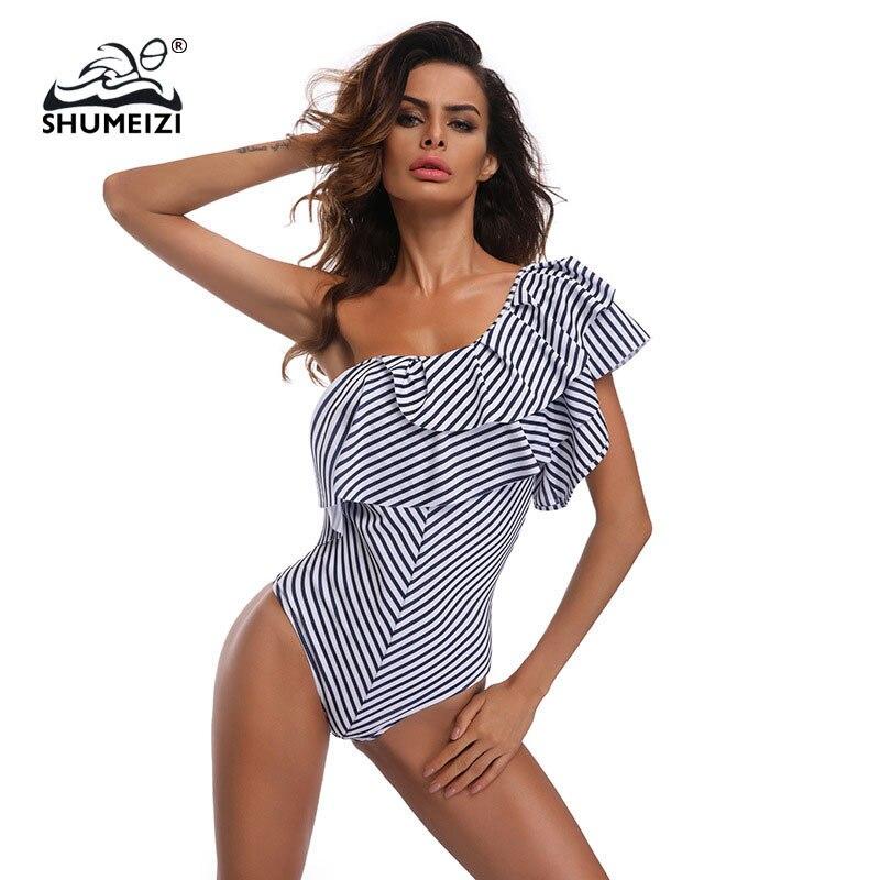 Buy 2018 Sexy Shoulder Black white stripes Swimwear Women One Piece Swimsuit Bathing Suit Ruffle Monokini Swim Suits Wear