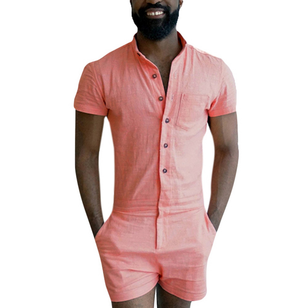 Mens Summer Fashion Short Sleeve Rompers Male Stretch Jumpsuit Single Breasted Short Cargo Pants Tops Zipper Trousers Overalls