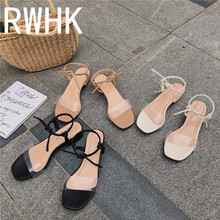 RWHK Transparent word belt sandals summer thick with wild straps Roman shoes 2019 new Korean version of high heels B063
