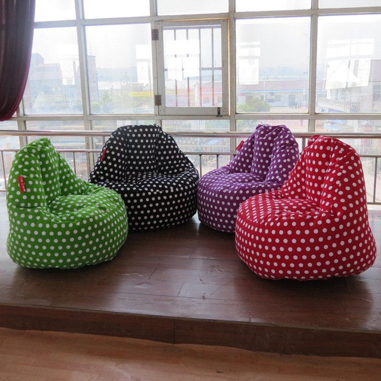 Finger design polka dots pattern canvas bean bag in living - How to decorate living room with bean bags ...