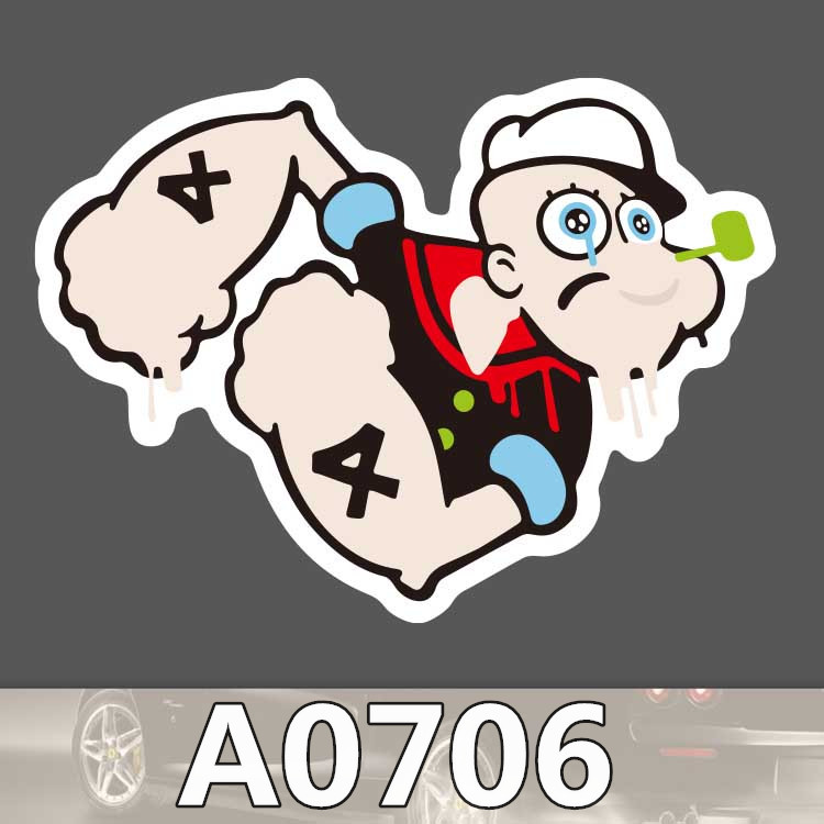 Bevle A0706 Popeye Waterproof Sticker Single Sale Cool Laptop Luggage Fridge Skateboard Graffiti Cartoon Notebook Stickers