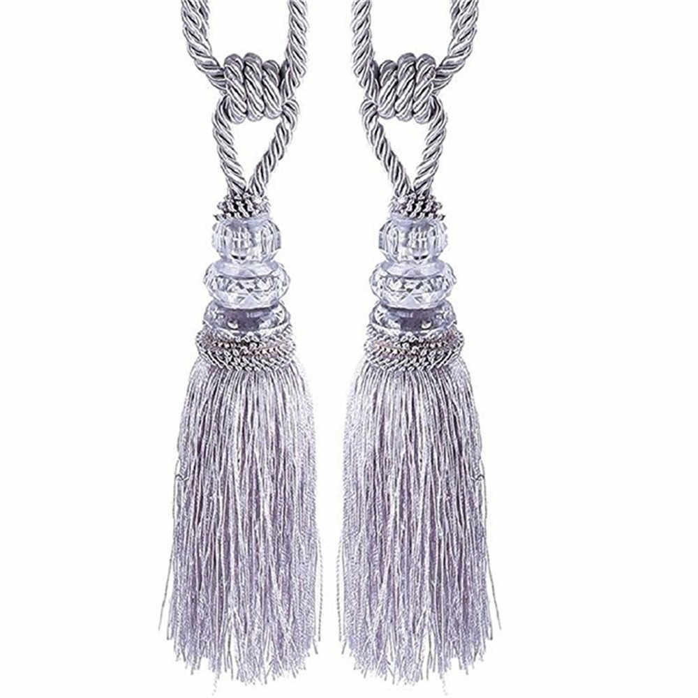 Curtain Tiebacks 2PC Crystal Beaded Tassels Tieback Curtain Cord Home Textiles Window Treatments Home Decoration Accessories m14
