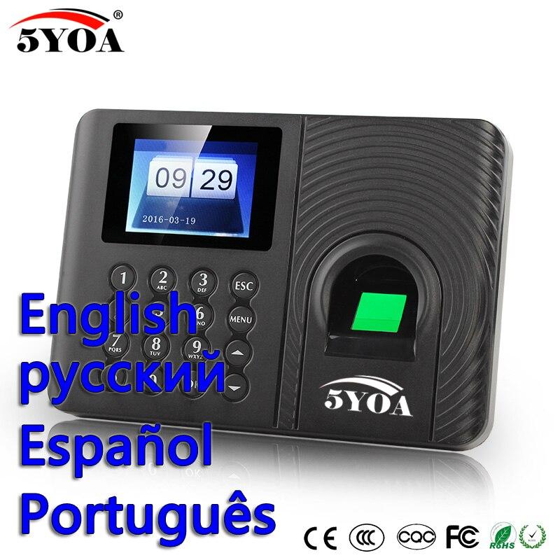 5YOA A10FY biometrico sistema di presenza di tempo di impronte digitali usb orologio Inglese Spagnolo Portoghese registratore macchina sensore reader-in Dispositivo di riconoscimento impronte digitali da Sicurezza e protezione su  Gruppo 1