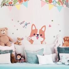 Kawaii Cute Pet Puppy Wall Sticker Kids Children Room Kindergarten Decoration for Home Decor Welsh Corgi Pembroke QT1242KJ-3MB