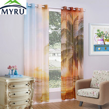 MYRU Fashion Scenic/ Fruits Pattern Printing Window Screen 2 Panels/Pair Terylene Sheer Curtain Tulle Curtain 6 Patterns 3 Sizes