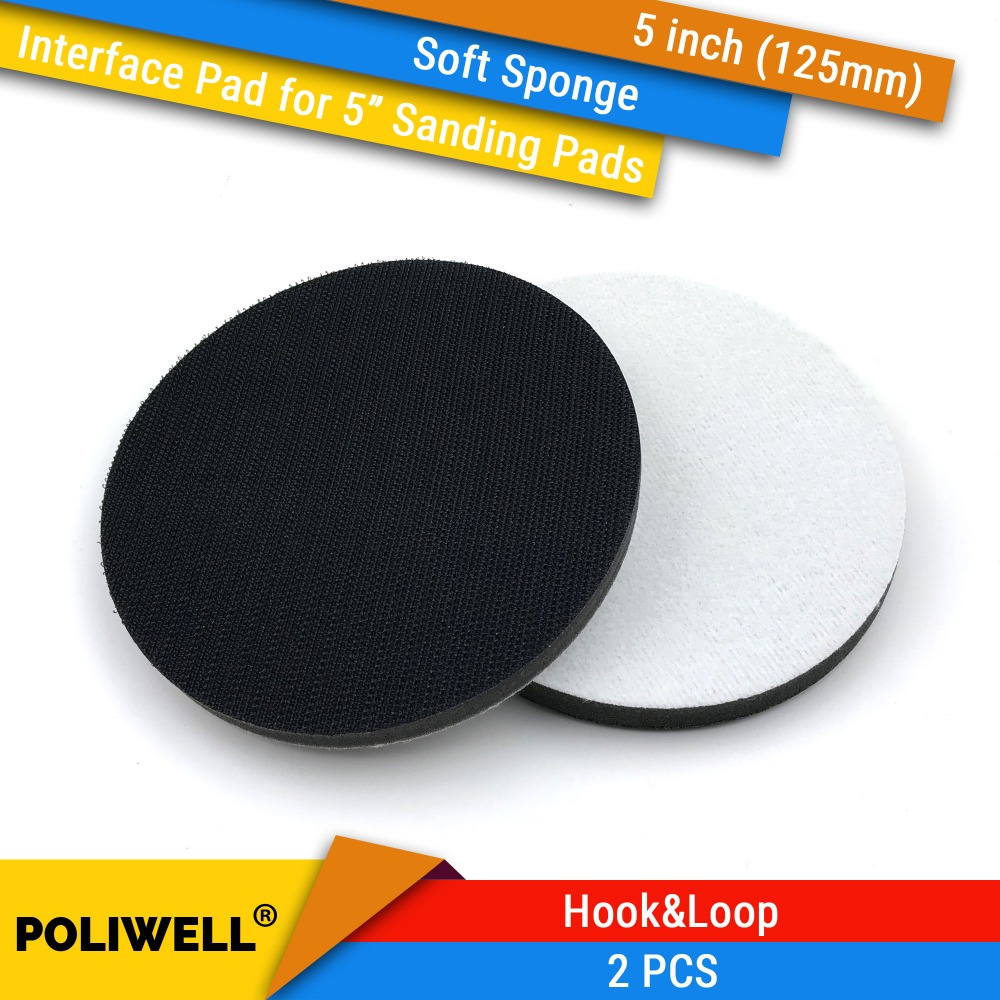 2PCS 5 Inch(125mm) Soft Sponge Interface Pads For Back-up Sanding Pad And Hook&Loop Sanding Discs For Uneven Surface Polishing