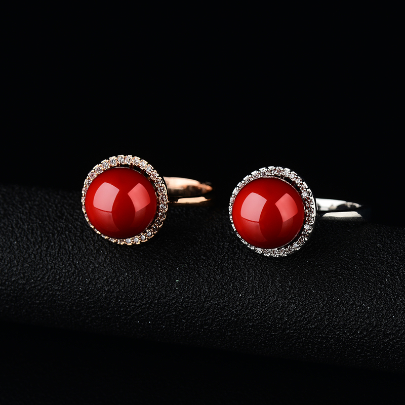 Anel Wanita Merah Buatan Karang Cincin Rose Gold Anel De Pedra - Perhiasan fashion - Foto 5