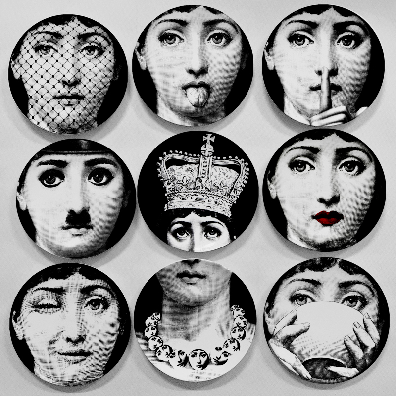 Top fashion milan piero fornasetti plates pure color black white illustration hanging dishes - Fornasetti faces wallpaper ...