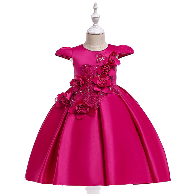 Retail Flower Girl Floral Dress For New Year Children Girls Sequined Princess Dress Formal Party Dress L5070