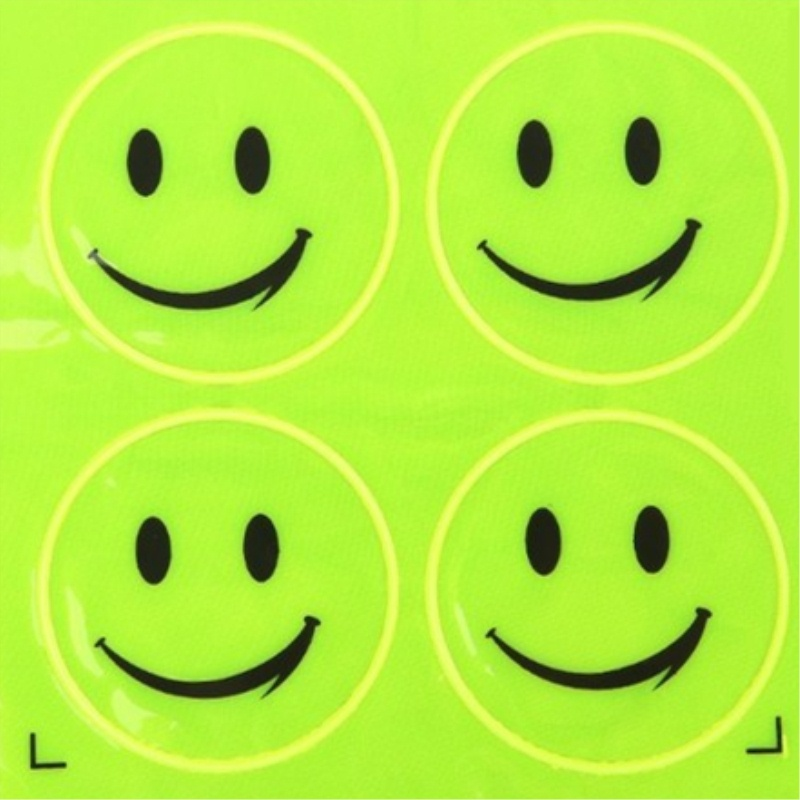 Image 4 - 2Sheet/Set Funny Reflective Bicycle Bike Sticker Smiling Face Pattern Night Riding Decal Night Riding Roadway Safety Sticker-in Reflective Material from Security & Protection