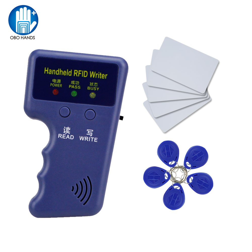 OBO Handheld 125KHz RFID Duplicator key copier reader writer ID card cloner Programmer with Rewritable Cards EM4305/T5577 mini handheld 125khz rfid duplicator key copier reader writer id card cloner programmer 5 keys 5pcs rewritable cards em4305 t5577