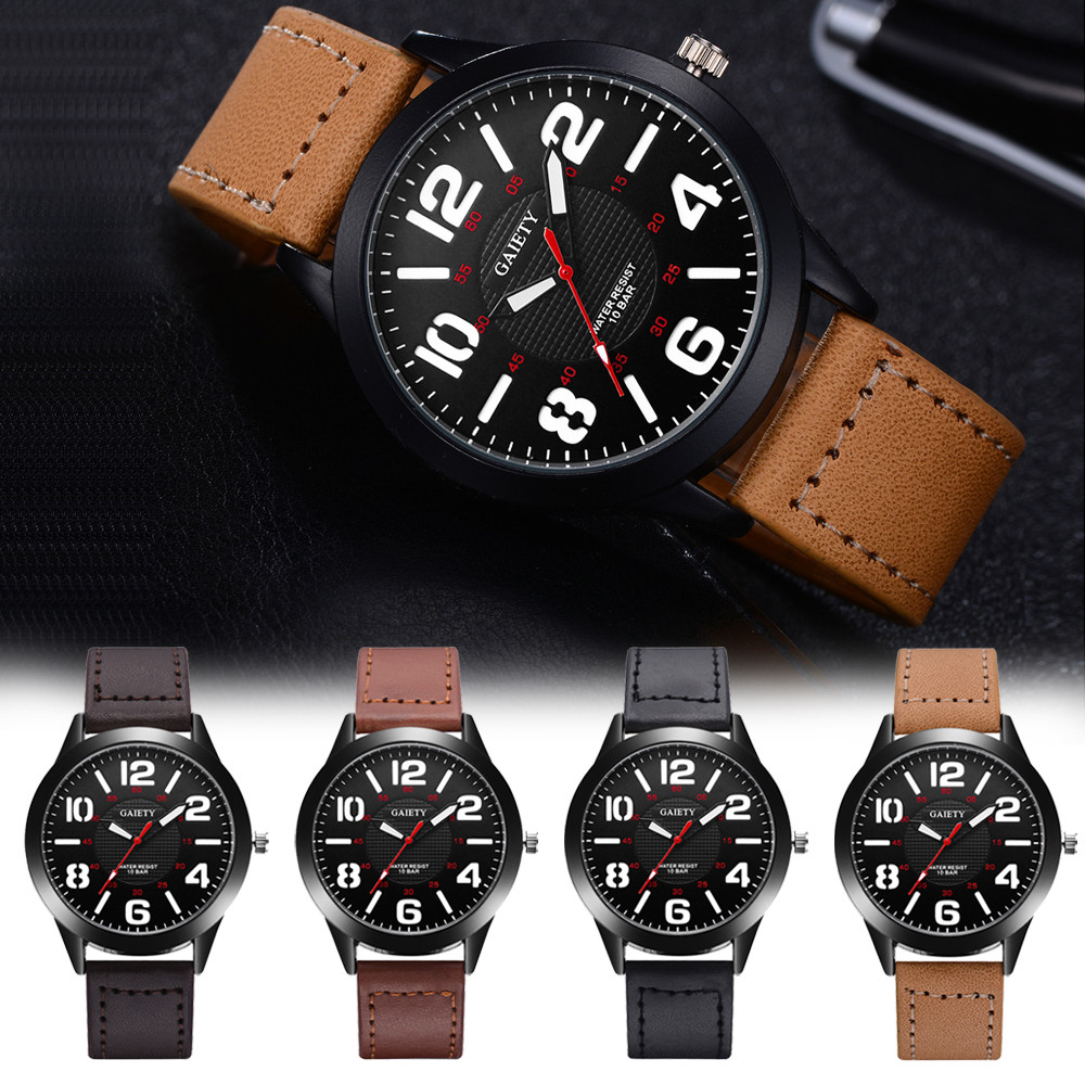 Gaiety G543 Male Clock Wristwatch Mens Pattern Quartz Watch Leather Strap Belt Table Watches Horloges Mannen Men Watch natural ebony wood bamboo watch mens creative quartz wristwatch numbers handmade genuine leather band clock gift horloges mannen