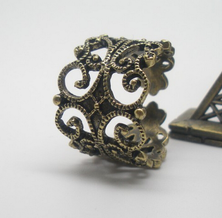 U-shaped hollow ring opening goth series Television peripheral accessories Copper hollow carved jewelry