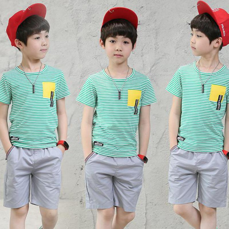 Teenage Boys Clothes 2018 New Cotton Casual Kids Outfits Striped T-shirts + Pants 2pcs Baby Children Clothing Sets 10 12 14 Year 2pcs children outfit clothes kids baby girl off shoulder cotton ruffled sleeve tops striped t shirt blue denim jeans sunsuit set
