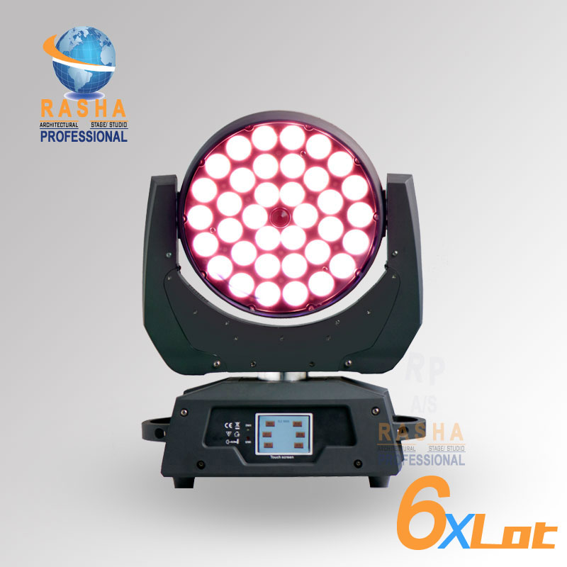 6X LOT Rasha Stage 36pcs*10W 4in1 RGBW Zoom LED Moving Head Wash Stage Moving Head Light,Stage Light-Touch Screen LCD Display
