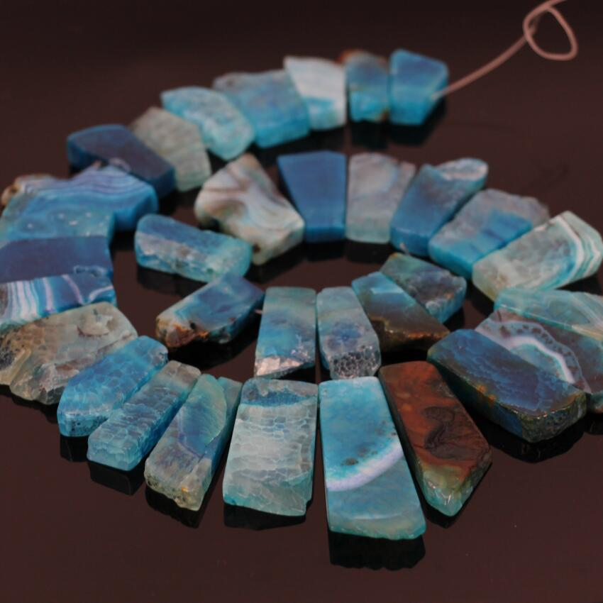 15.5strand Blue Raw Ag ate Slab Slice Top Drilled Beads,Natural Ag ate Slab Point pendant graduated Nacklace Beads Jewelry