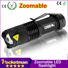 1pcs Portable Lighting q5 led flashlight 7W high power mini zoomable 3 modes waterproof glare torch 14500 /AA bicycle