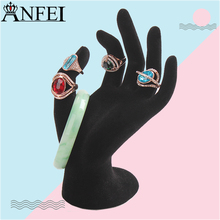 Anfei Velvet Hand Model Jewelry Ring Organizer Bracelet Necklace Hanging Hand Display Holder Stand Show Rack Rings Display A47