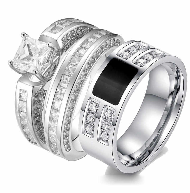 2pcs Engagement Woman Men Cubic Zirconia Couple Ring Double Rings Set Bijoux Male Ladies Lover Wedding Couple Jewelry Party