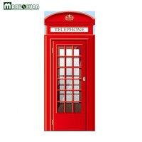 Maruoxuan New 3D Red Phone Booth Pattern Door Paste Home Bedroom Living Room Door Decoration Murals