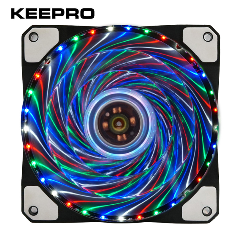 KEEPRO Original 33 LEDs 120mm LED Ultra Silent Computer PC Case Fan 12V With Rubber Heatsink Cooler Cooling Fan 3Pin/4Pin personal computer graphics cards fan cooler replacements fit for pc graphics cards cooling fan 12v 0 1a graphic fan