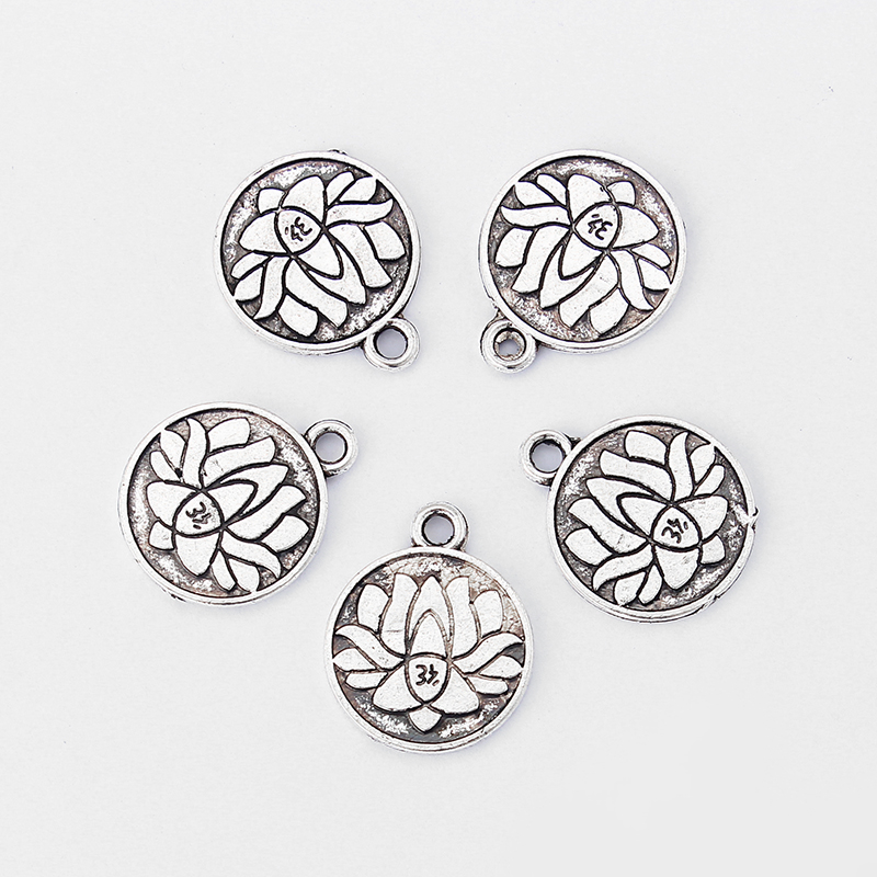 20pcs Antique Silver Lotus Carved OM OHM YoGa Symbol Charms For Bracelet Necklace Jewelry Making Accessories