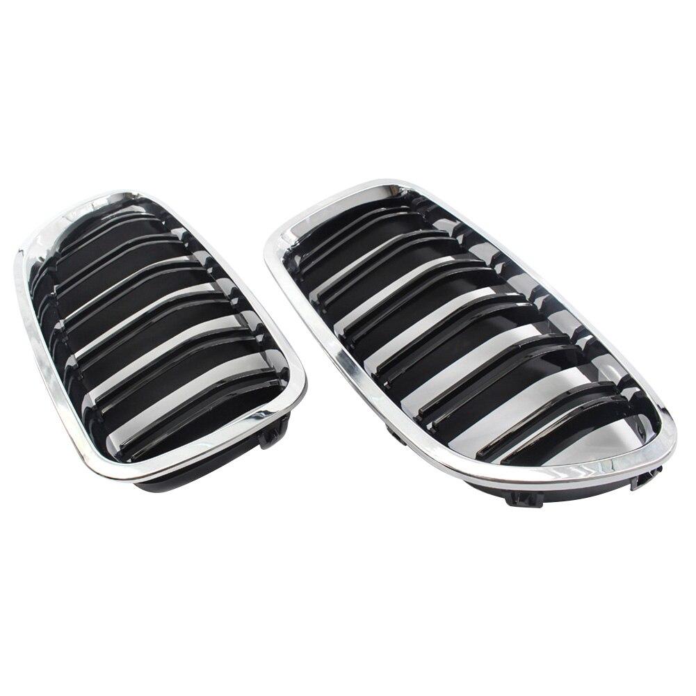 2 pièces Chrome Double Aileron Calandre Hotte Nez Pour BMW F10 F11 5 2010-2015 NR-expédition