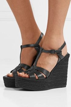 Carpaton Fashion Platform Wedge Sandal Summer Open Toe T-strap Leather Shoes Woman Ankle Strap Cutouts Party Shoes Black