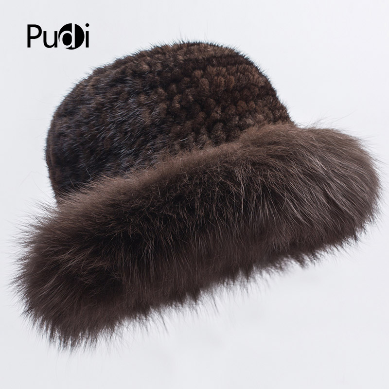 Pudi HF7035 Winter hats for women mink fur hat stylish fox fur brim with comfortable 3 colors to choose from