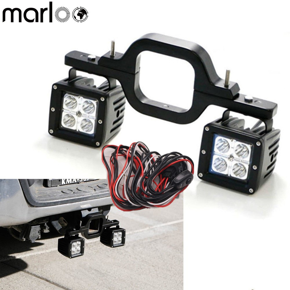 Universal Car Tow Hitch Mounting Bracket With 16W LED Backup Reverse Light For Toyota FJ Cruiser Offroad SUV Truck Trailer