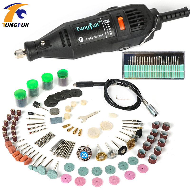Tungfull Mini Drill 130W Drilling Machine 30000rpm Variable Speed Rotary Tools  Electric Engraver For Dremel 4000 3000 220v mini electric drilling machine variable speed micro drill press grinder pearl drilling diy jewelry drill machines
