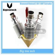 Diamond 3D-принтеры экструдер RepRap hotend 3D V6 радиатора 3 в 1 из нескольких Сопла Экструдер Prusa I3 комплект для 1.75 /0.4 мм