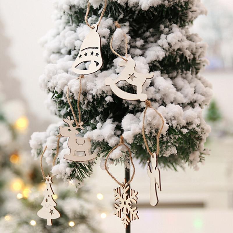 Christmas Tree Decorations Aliexpress: 10Pcs Christmas Tree Hanging Ornaments Wooden Snowflake