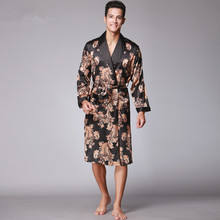 Mężczyźni lato Paisley Print jedwabne szaty męskie Senior satyna Sleepwear satynowe piżamy długie kimono szlafrok szlafroki dla mężczyzn tanie tanio Robes Kołnierz skrętu Paisley jedwabny płaszcz Ogólne Poliester Mikrofibra Drukowania męski szlafrok Koszula nocna męski starszy satyna Sleepwear