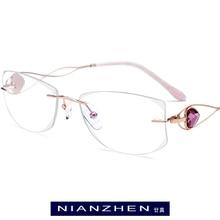 B Wire Titanium Eyeglasses Frame Women Luxury Diamond Trimming Cut Frameless Rimless Optical Glasses Frames Women Eyewear 7711 finished with ultralight titanium rimless glasses frames custom diamond trimming glasses frame men and women of color 103