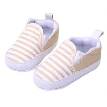 1 Pair 3 Colors 3-13M Kids Baby Soft Bottom Walking Shoes Boy Girl Striped Anti-Slip Sneakers