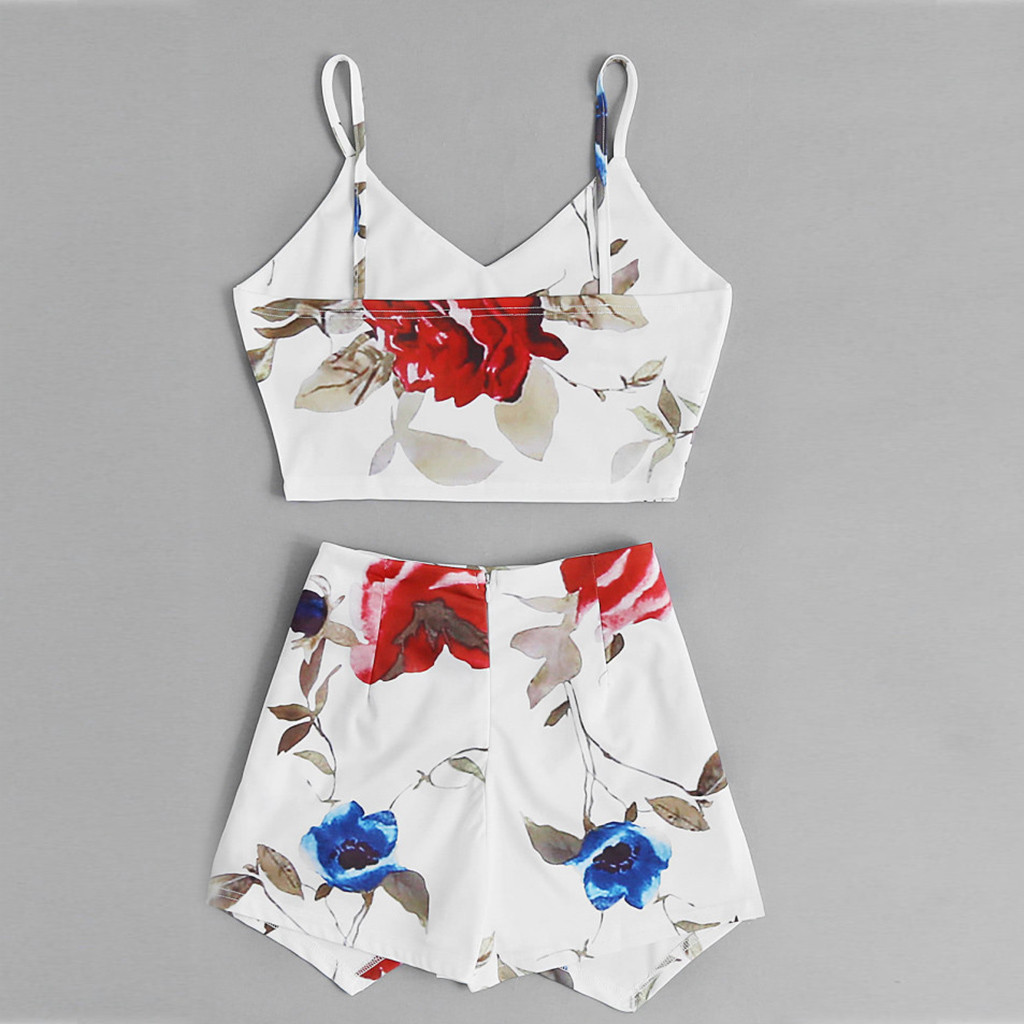feitong Women 2 Piece Bodycon Crop Top and Pants Set Tank Top Party Floral Print Tops Flower Pants Outfits Clothes Summer
