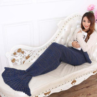 Spring Bedding Sofa Mermaid Blanket Wool Knitting Fish Style Little Tail Blankets Warm Sleeping Child Princess