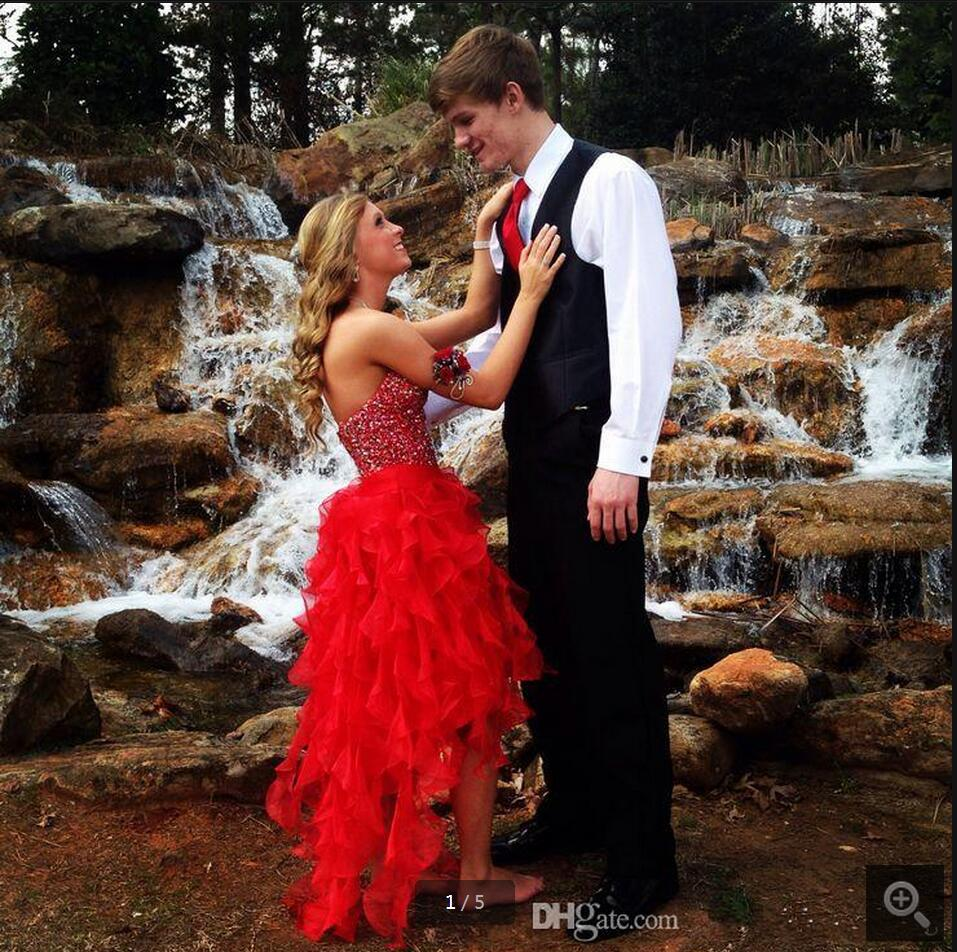 2016 New Arrival Red A Line Beading Prom Dress Strapless Ruffled Formal High Low Prom Gowns Best Selling Cheap Sequined Dress