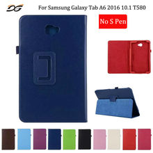 "Case for Samsung Galaxy Tab A6 2016 10.1"" inch T580 T585 T587P No S Pen Folding Stand Leather Protective Case Cover for T580"