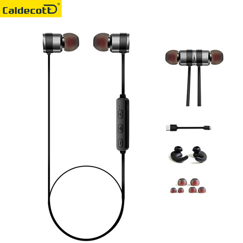 Metal bass Magnet Wireless Earphones In ear Headsets Sport Running Music Bluetooth Earphone With Microphone for Phone MP3 player