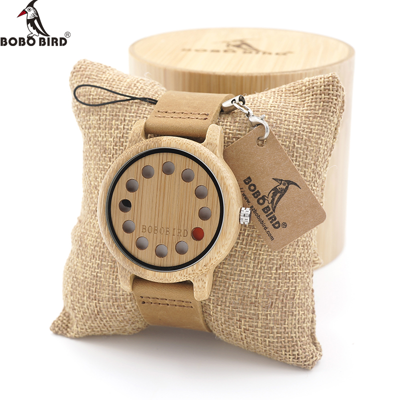 BOBO BIRD 12 Holes Design Bamboo Wooden Watch Mens Quartz Analog Watches with Genuine Leather Band as Gift montre homme 2017 bobo bird brand new sun glasses men square wood oversized zebra wood sunglasses women with wooden box oculos 2017