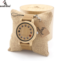 BOBO BIRD A26 12 Holes Design Bamboo Wooden Watch Mens Quartz Analog Watches With Genuine Leather