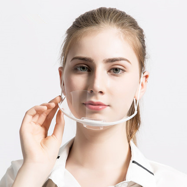 100 pcs Transparent Masque Alimentaire et Boissons Service Hôtel Chef Anti Brouillard En Plastique Sourire Anti Brouillard Cuisine Sanitaires Masques Rapport