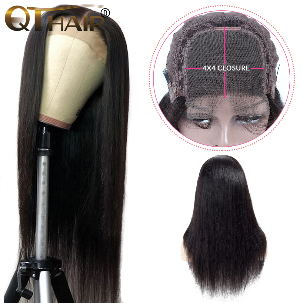 QT 4x4 Lace Closure Wigs Remy Brazilian Human Hair Wigs Straight Lace Wigs For Black Women Pre Plucked With Baby Hair