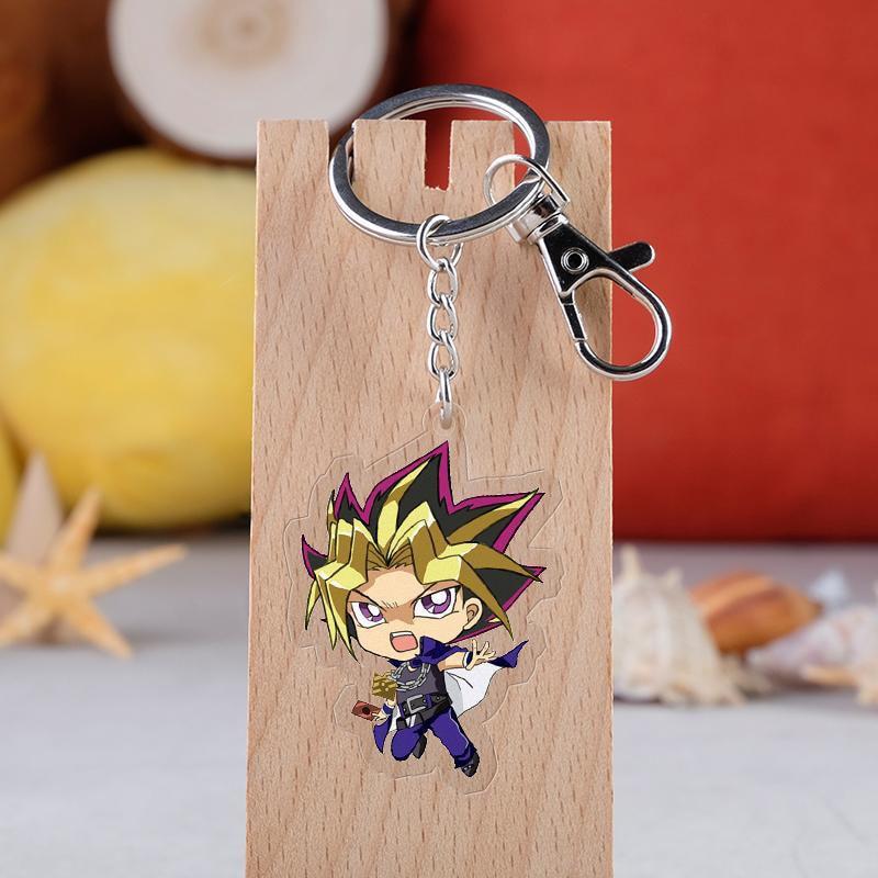 Game Yu Gi Oh Cartoon Acrylic Keychain Cartoon Figure Double Sided Anime Key Ring