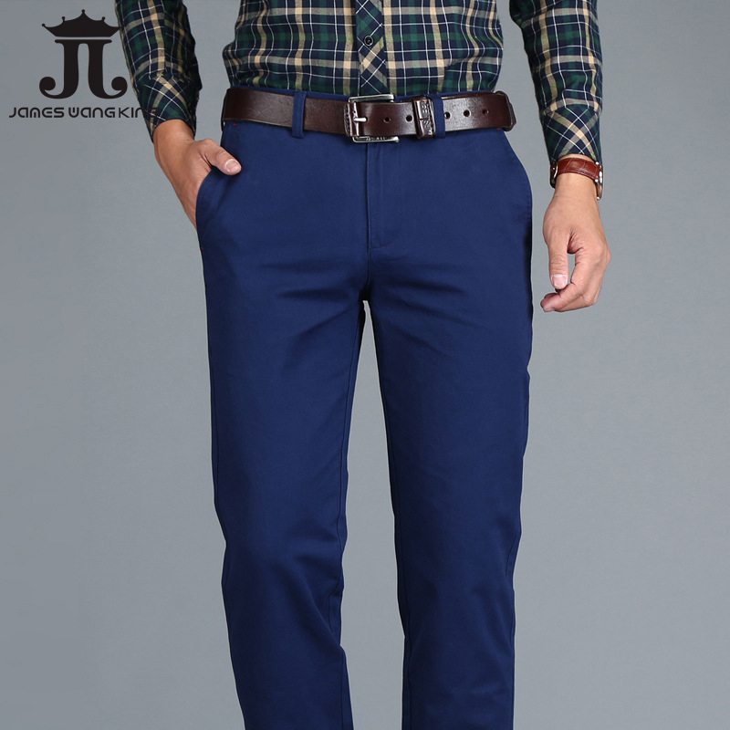 Mens Chinos High Quality Cotton Casual Pants Stretch Male Trousers Man Long Straight Plus Size chinos pants-in Casual Pants from Men's Clothing