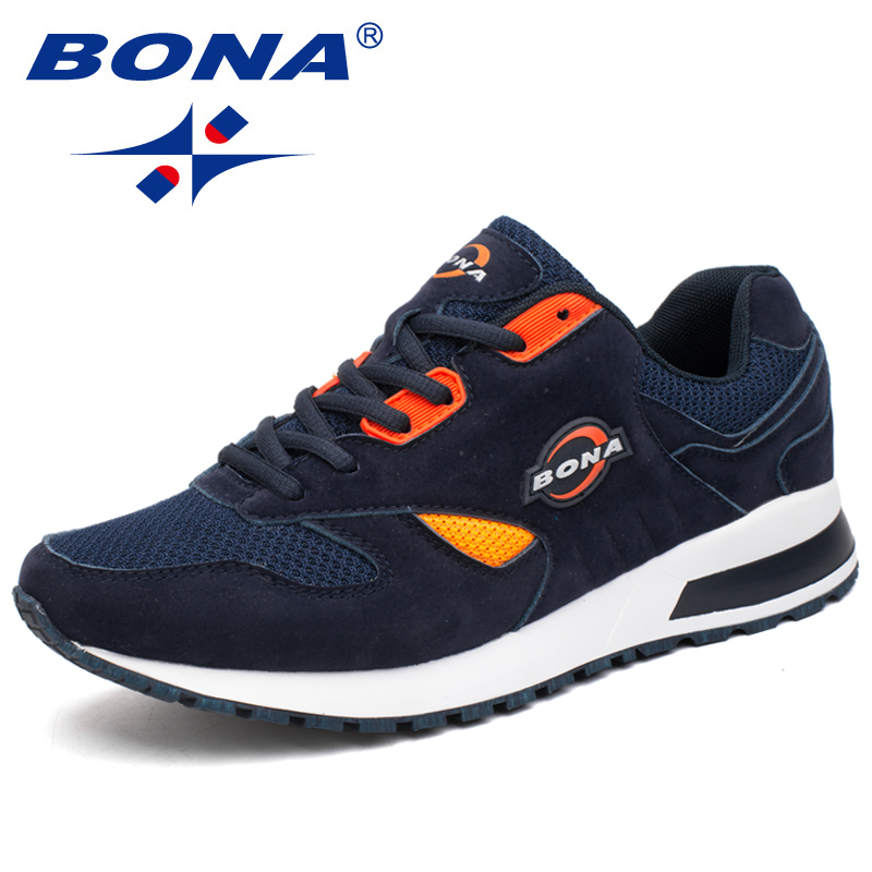 BONA  New Popular Hot Style Men Running Shoes Lace Up Breathable Sport Shoes Men Outdoor Walking Comfortable Sneakers For Male peak sport men outdoor bas basketball shoes medium cut breathable comfortable revolve tech sneakers athletic training boots