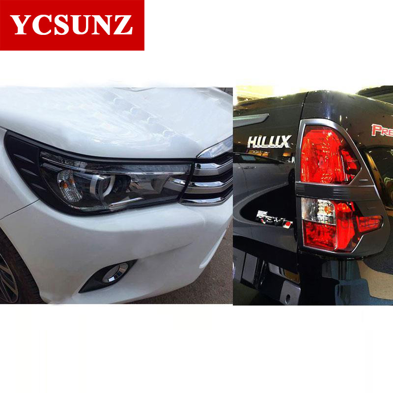 2016-2017 Black Kits For Toyota Hilux 2016 Accessories ABS Black Decorative Trim For Toyota Hilux Deluxe Versions Revo Ycsunz 2016 2017 for toyota hilux chrome accessories front tail lights cover for toyota hilux basic versions car hilux ycsunz