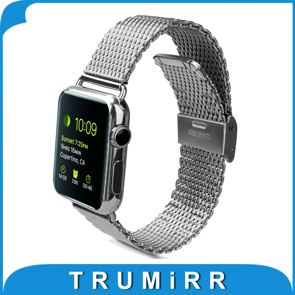 22mm 24mm Mesh Stainless Steel Band for iWatch Apple Watch / Sport / Edition 38mm 42mm Milanese Watchband Strap Link Bracelet